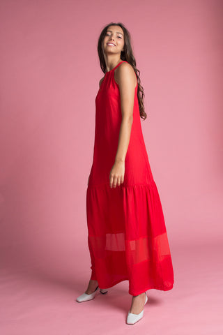 Tie-Back Tiered Bottom Maxi (Cherry)