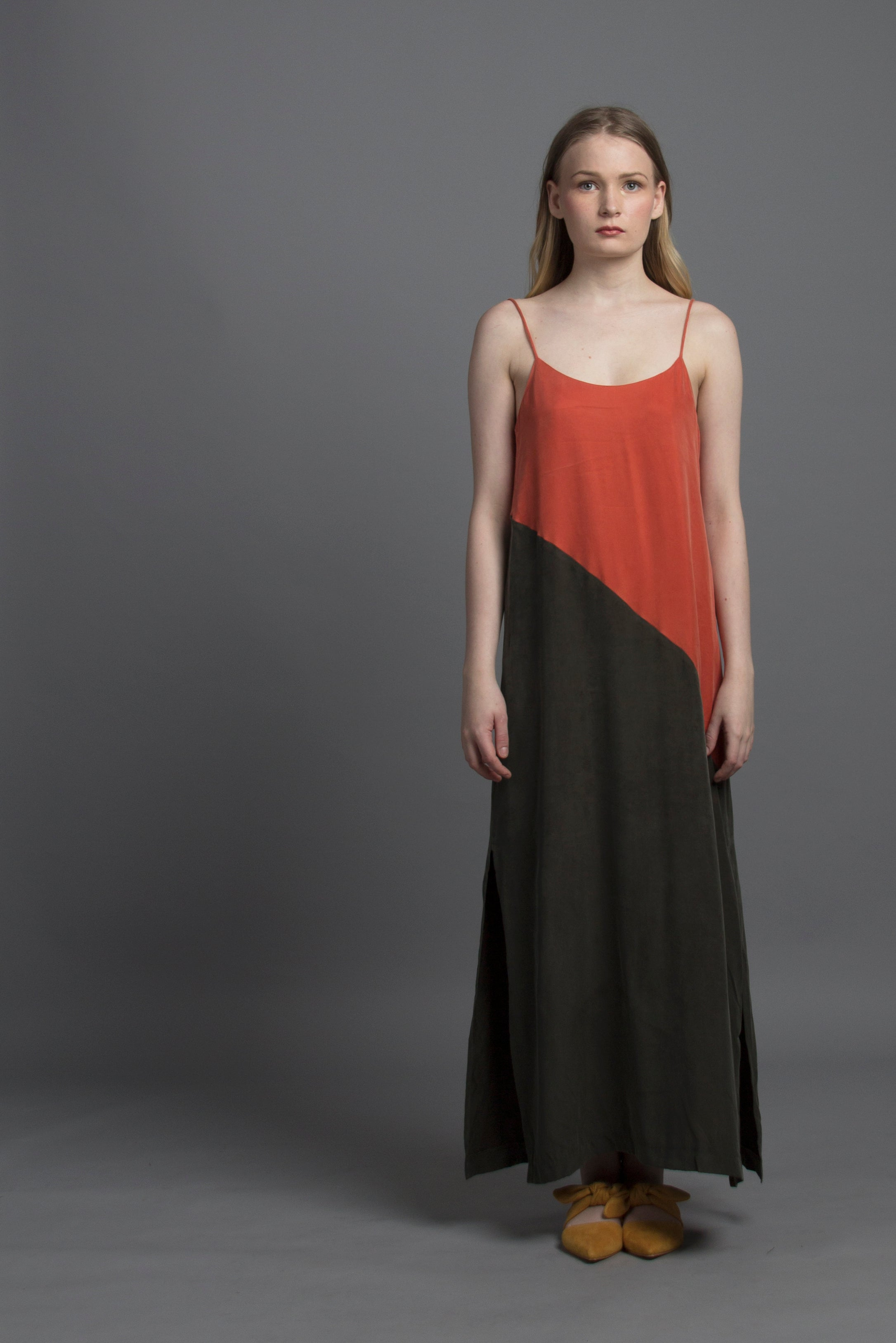 Basic Spag Combi Dress (Burnt Orange / Olive)