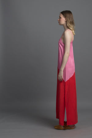 Basic Spag Combi Dress (Candy Pink / Tangerine)