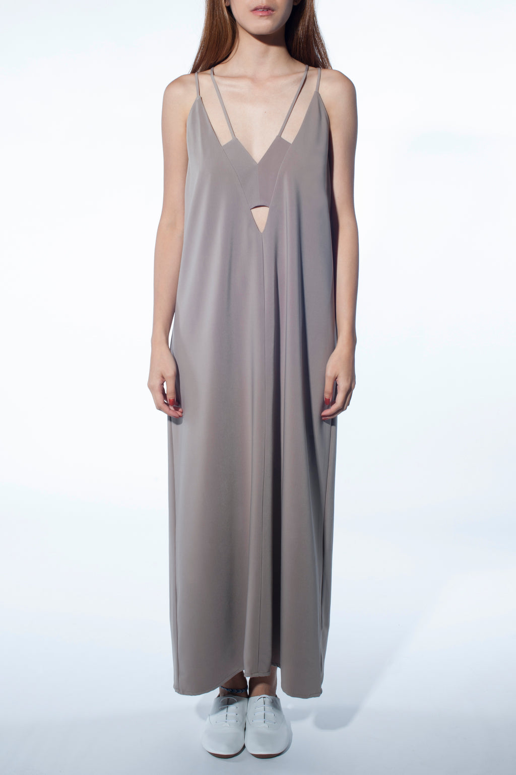 Geo Cut-Out Maxi Dress (Grey)