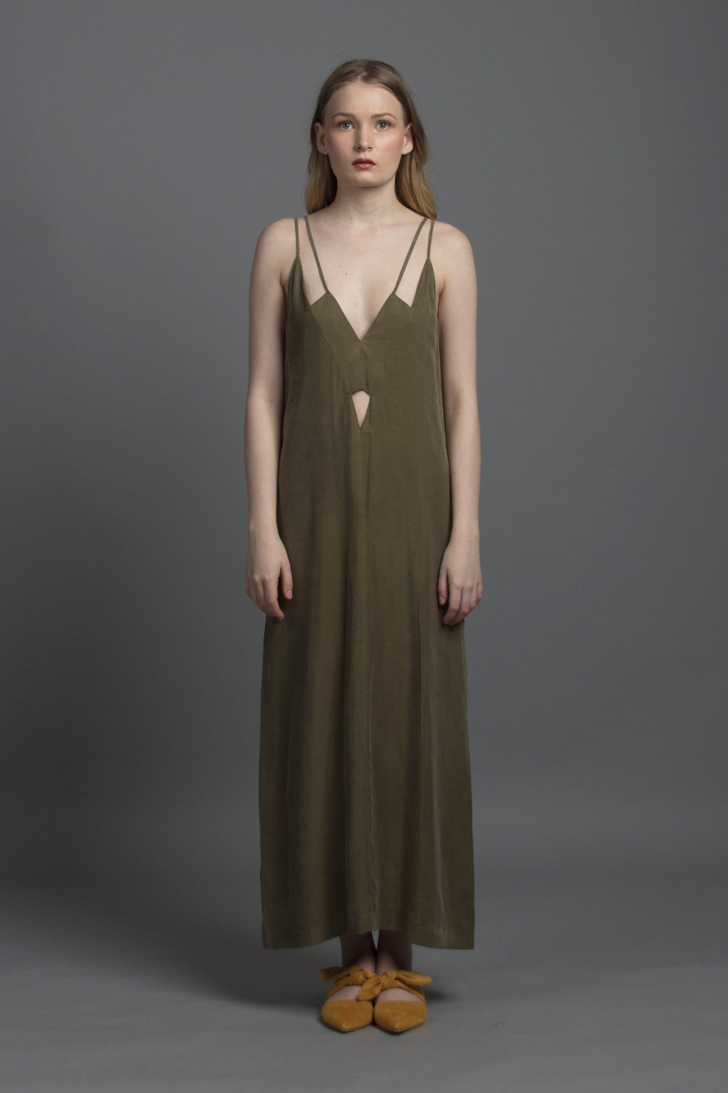 Geo Cut-out Maxi Dress (Olive)