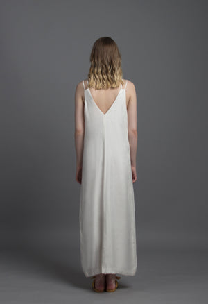 Geo Cut-out Maxi Dress (White)