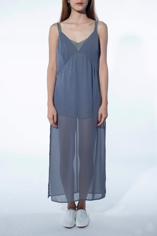 Romper Slip Dress - Iron Ore
