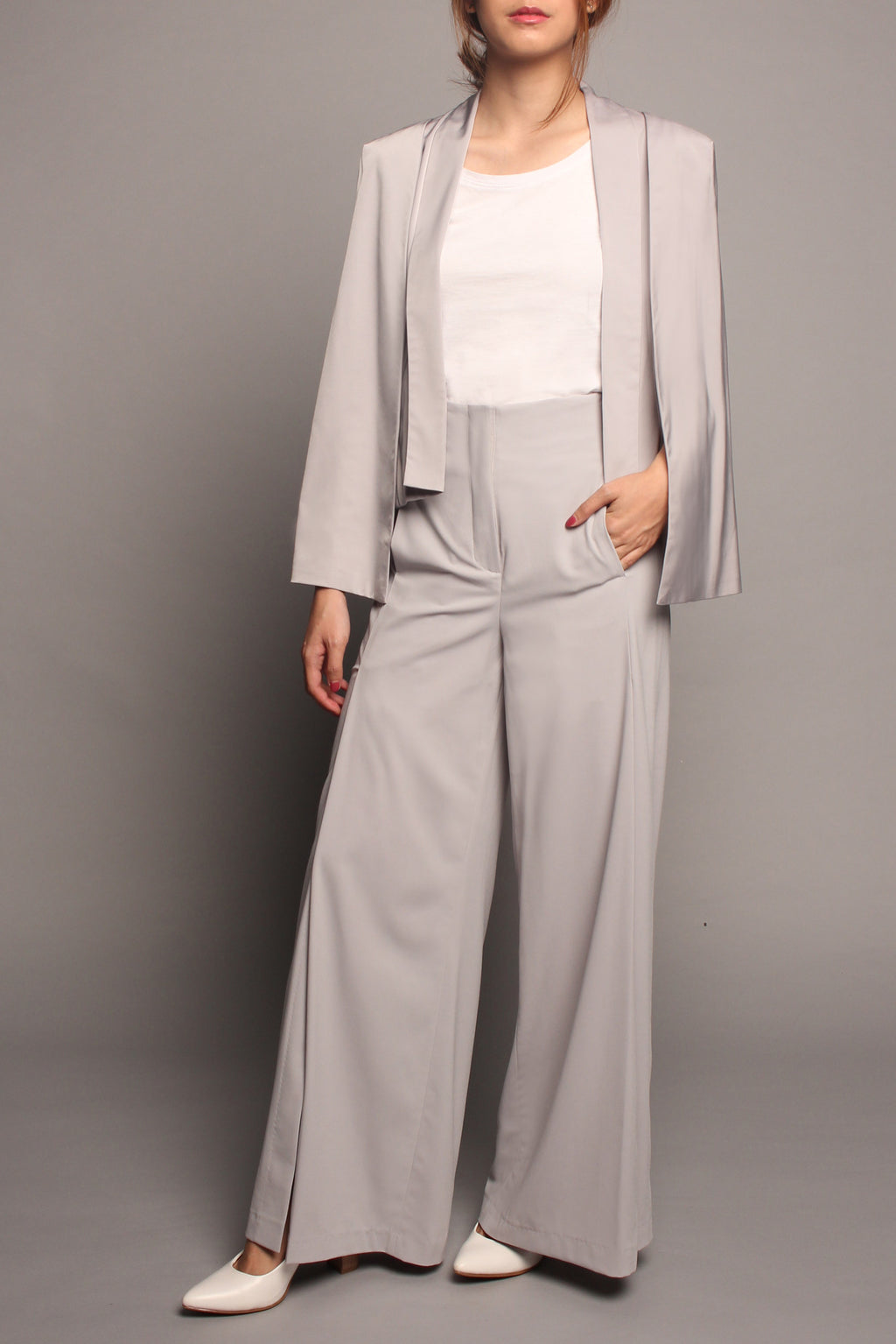 Split-Leg Pants (Grey)