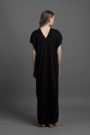 V-neck Kaftan Knit Maxi (Black)
