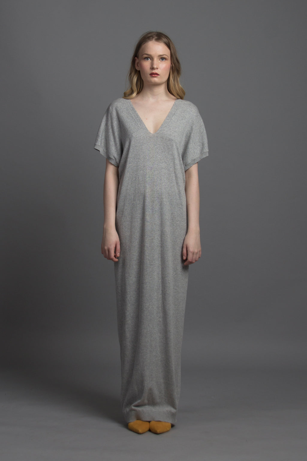 V-neck Kaftan Knit Maxi (Grey)