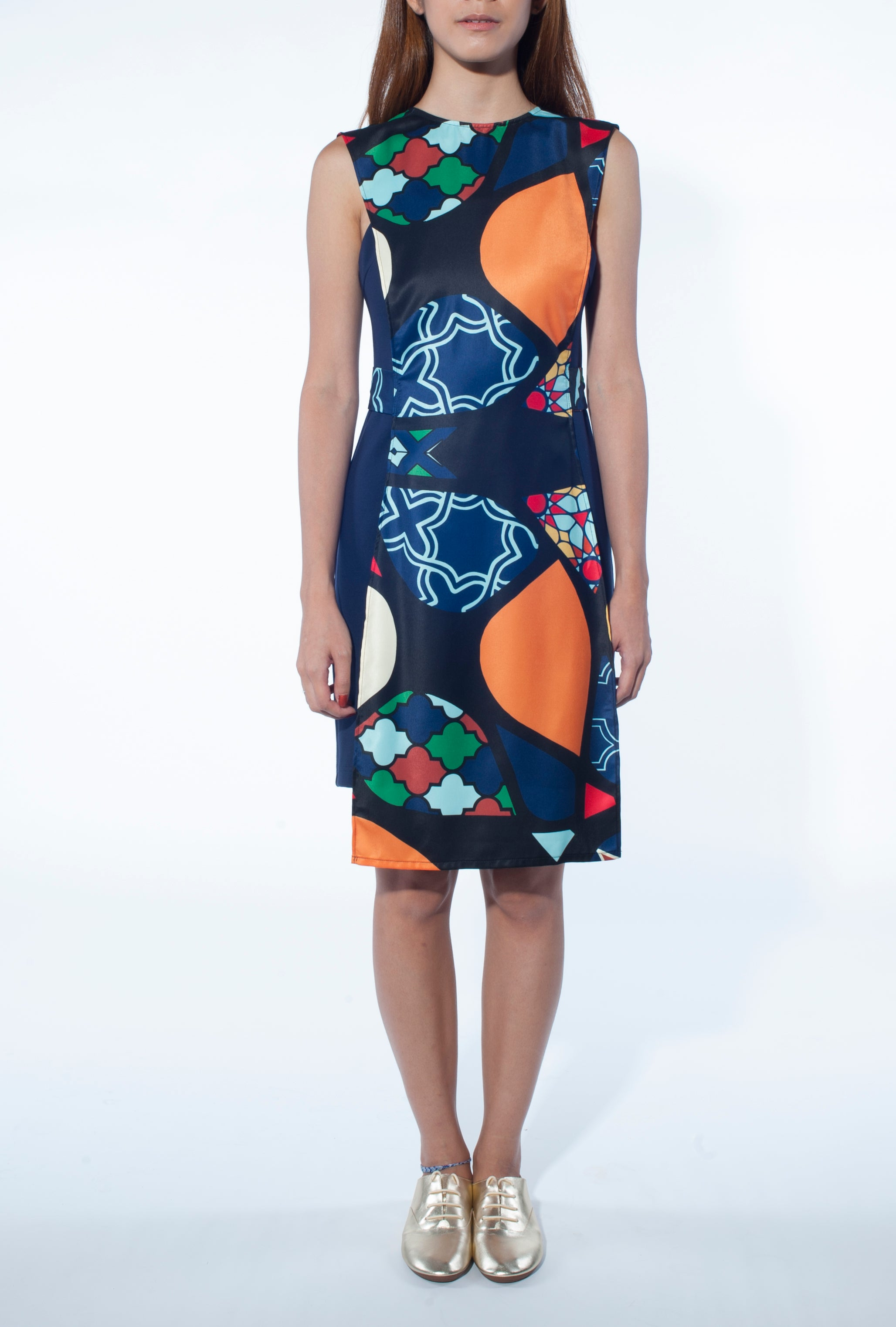 Apron Overlay Dress (Mosaic Print)