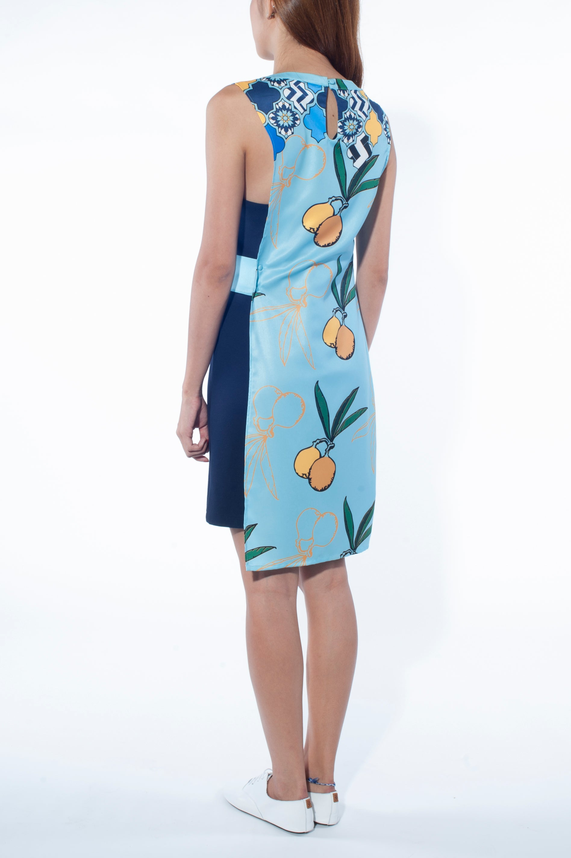 Asymmetrical Overlay Dress (Chefchaouen Print)