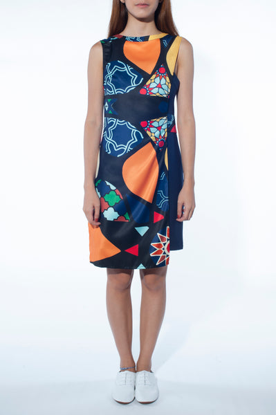 Asymmetrical Overlay Dress (Mosaic Print)