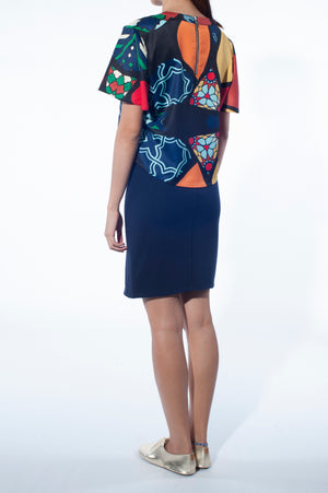 Blouse Overlay dress (Mosaic Print)