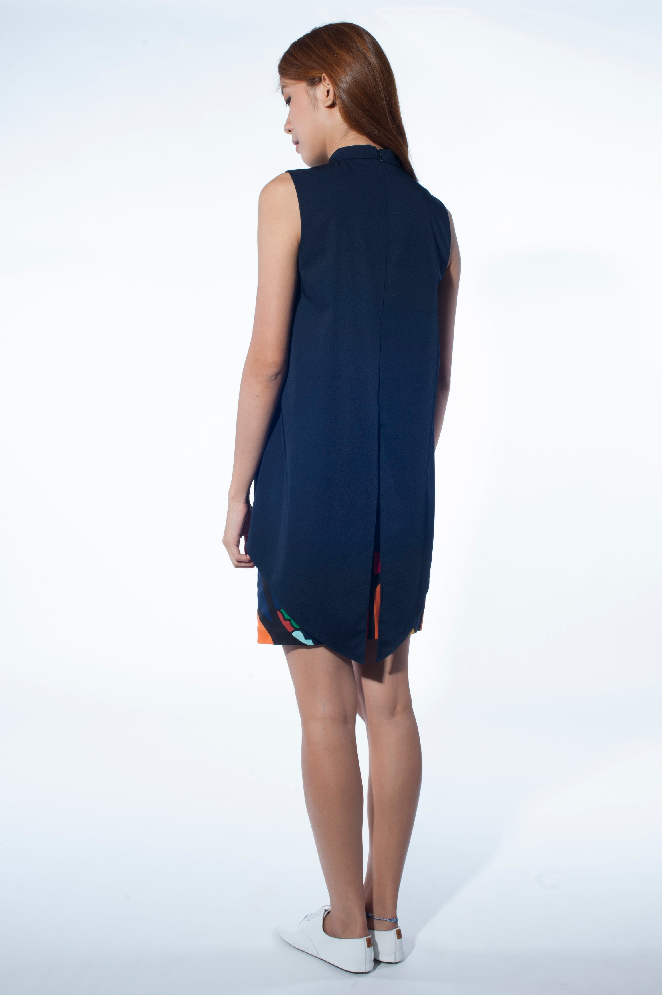 Cape dress (Navy)