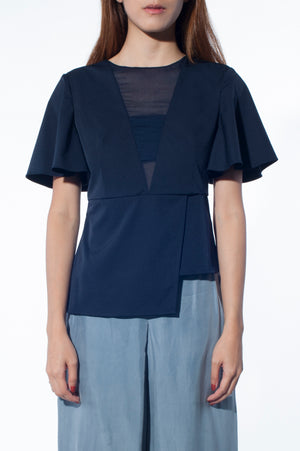 Chiffon Peek-a-boo Top (Navy)