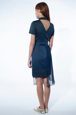 Mandarin Collar Dress with Chiffon Peplum (Navy)