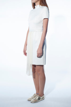 Mandarin Collar Dress with Chiffon Peplum (Cream)