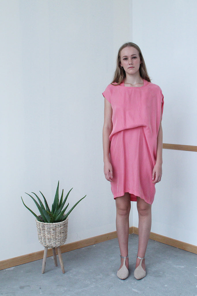 Convertible Tee Dress (Candy Pink)