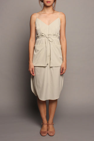 Draw-Waist Spag Dress (Grey)