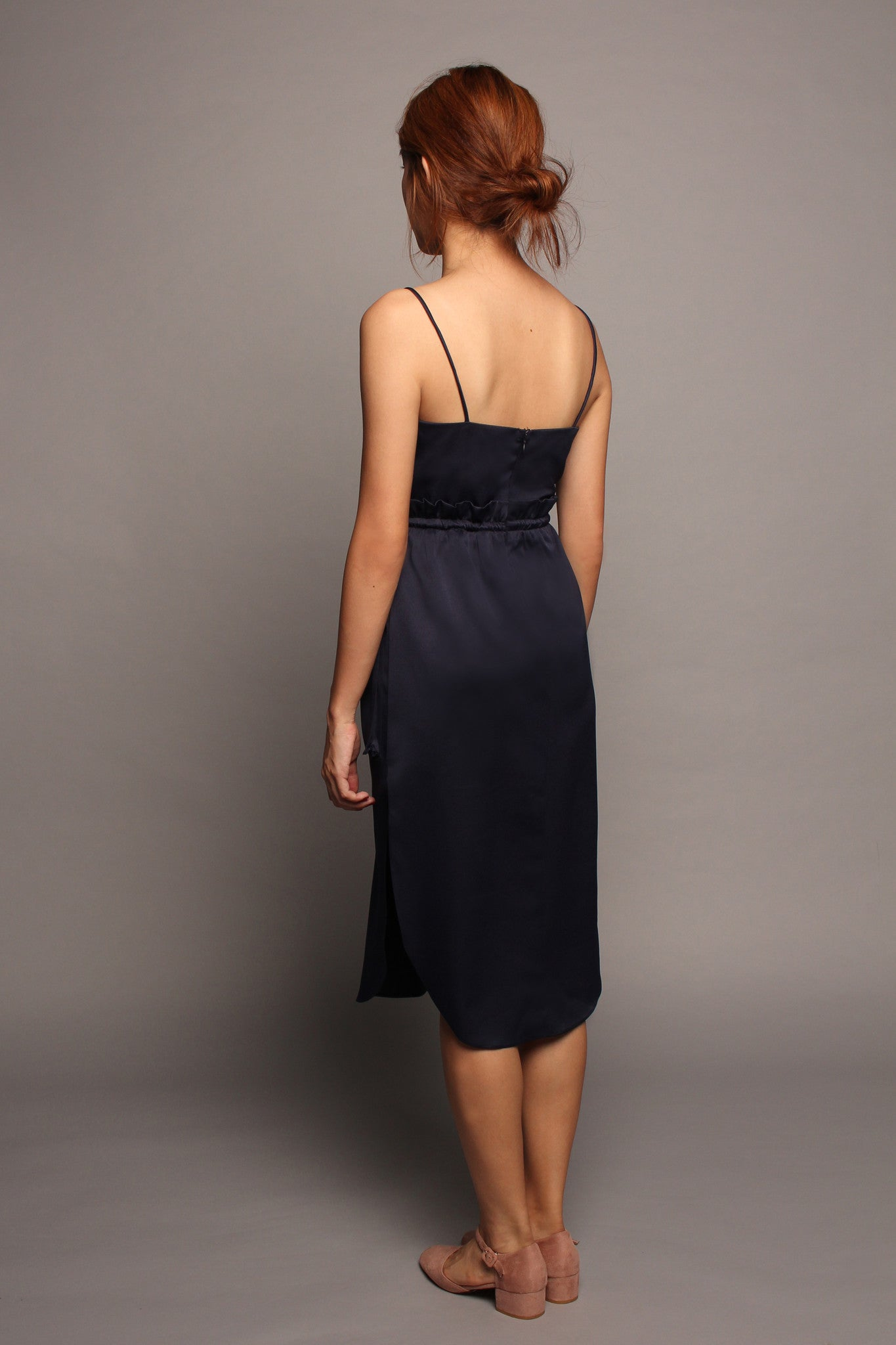 Draw-Waist Spag Dress (Midnight)