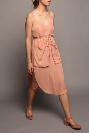 Draw-Waist Spag Dress (Pink)