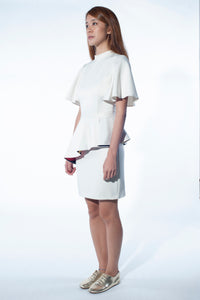 Flared Sleeve Dress with Peplum skirt (white)