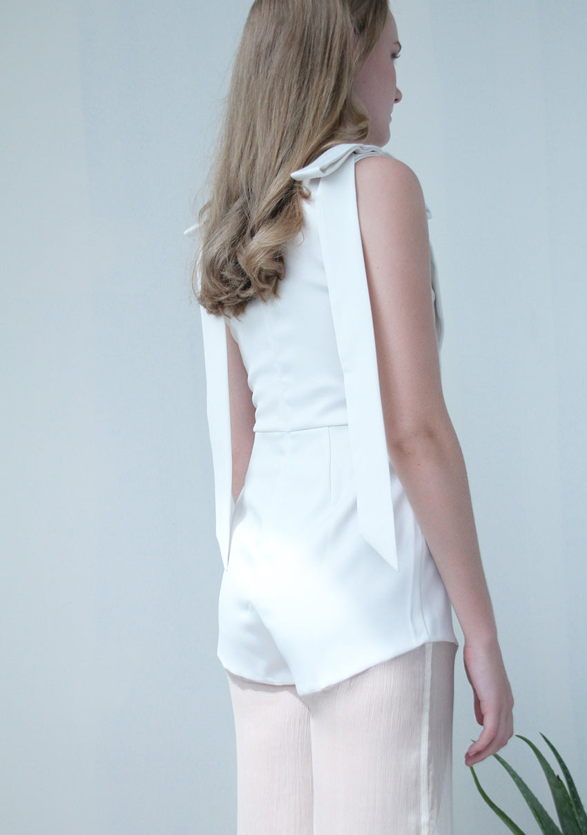 Long Sash Jumpsuit (Off-white)
