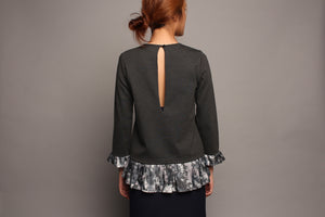 Long Sleeved Top with Printed Detail