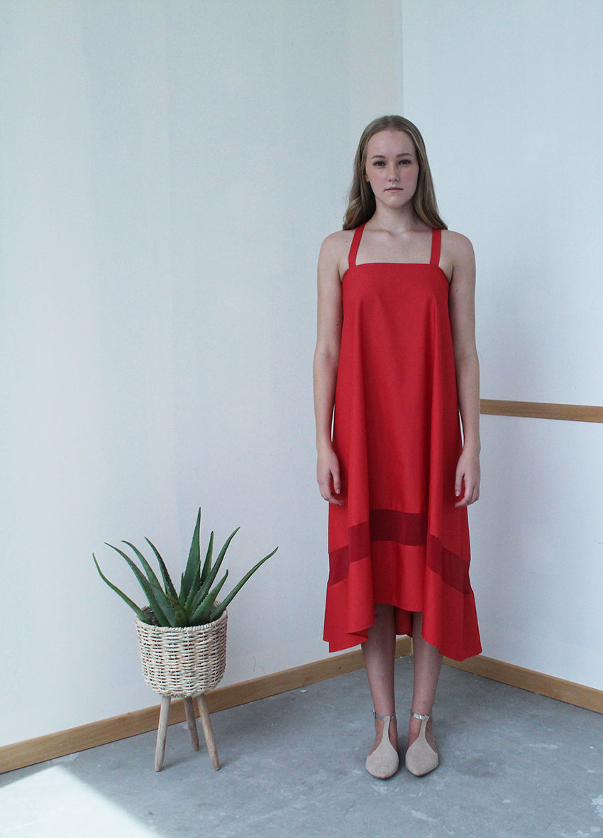Tee Pee Dress with Chiffon Insert (Red)