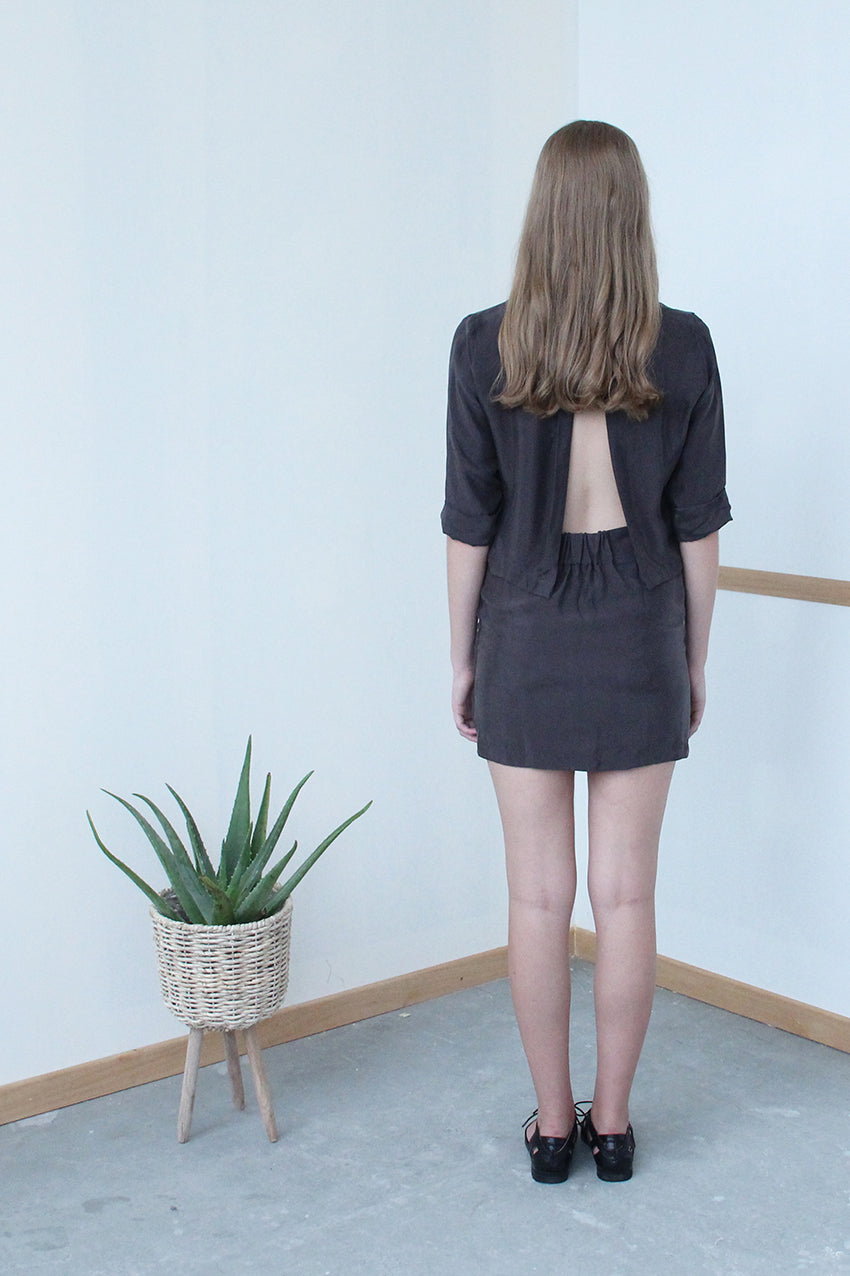 V-front Open Back Dress (Iron ore)
