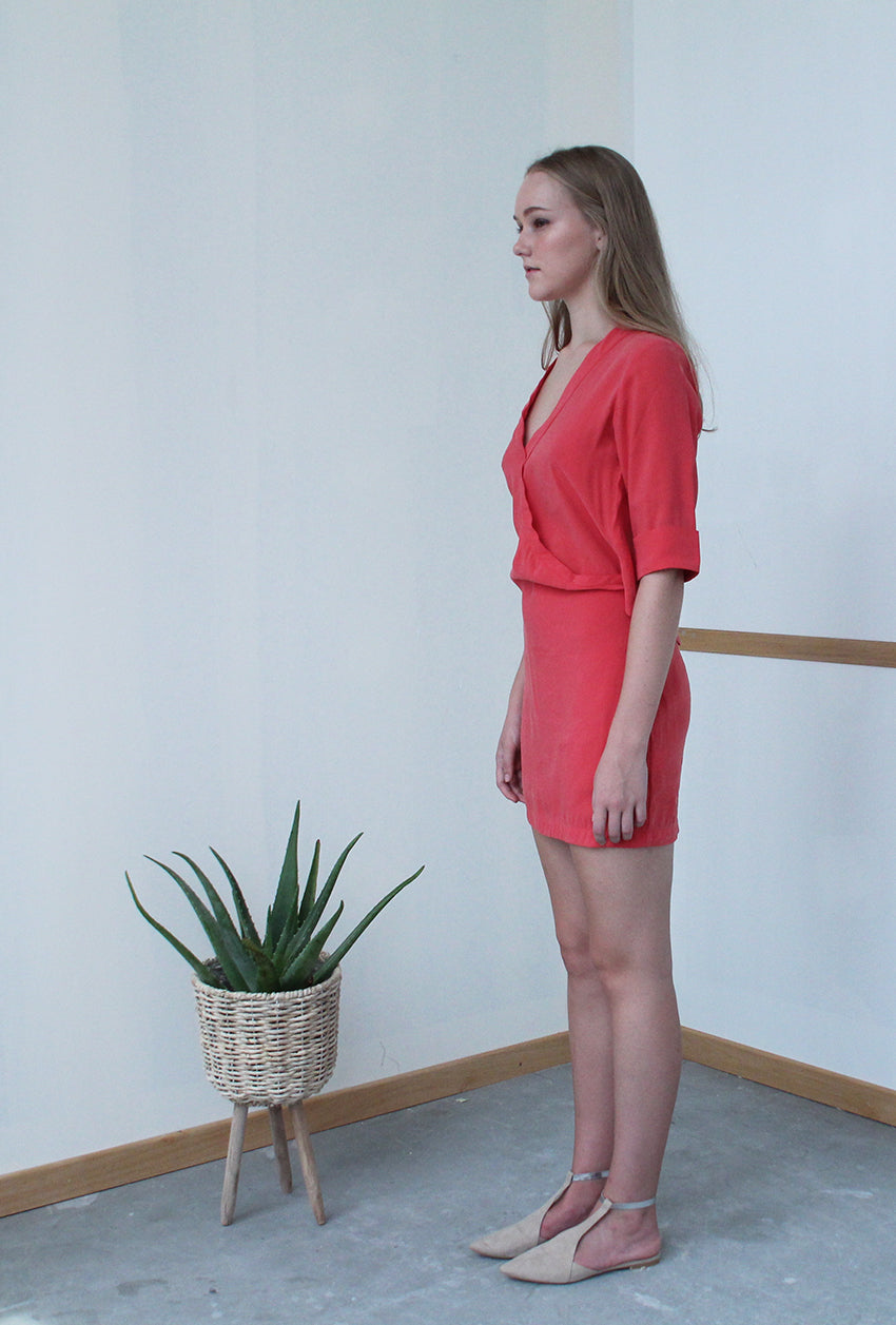 V-front Open Back Dress (Vermillion)