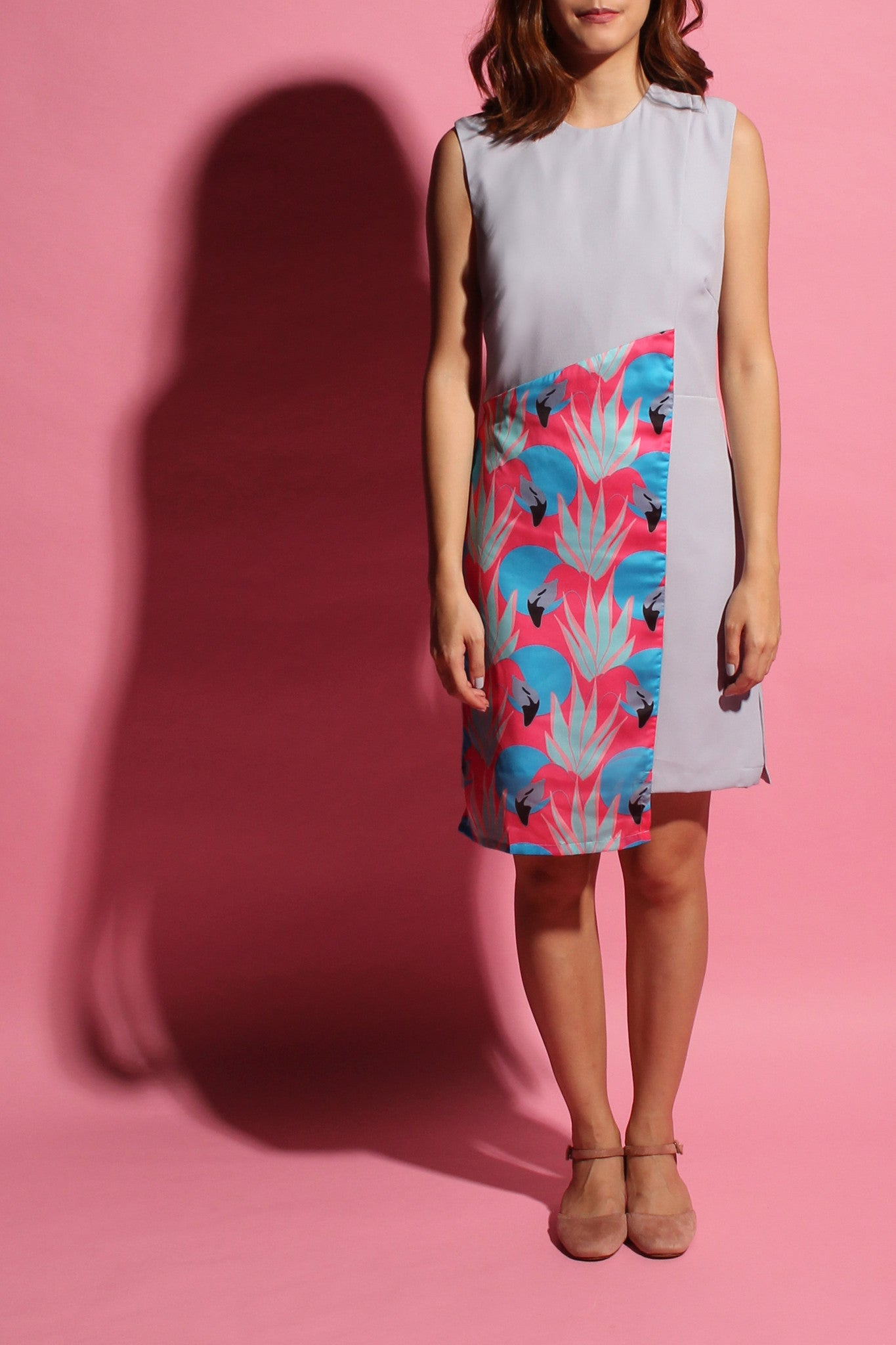 Crossback Flamingo Dress - Grey