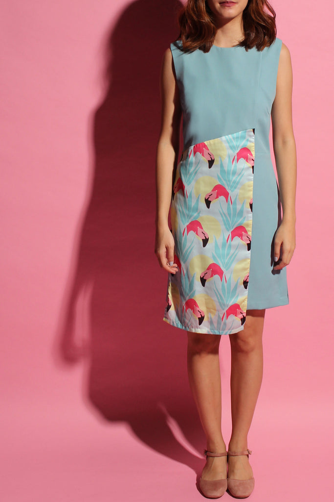 Crossback Flamingo Dress - Light Teal