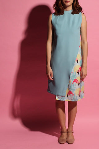 High Neck Flamingo Dress - Light Teal