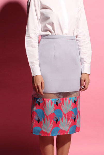 Flamingo Peekaboo Skirt - Grey
