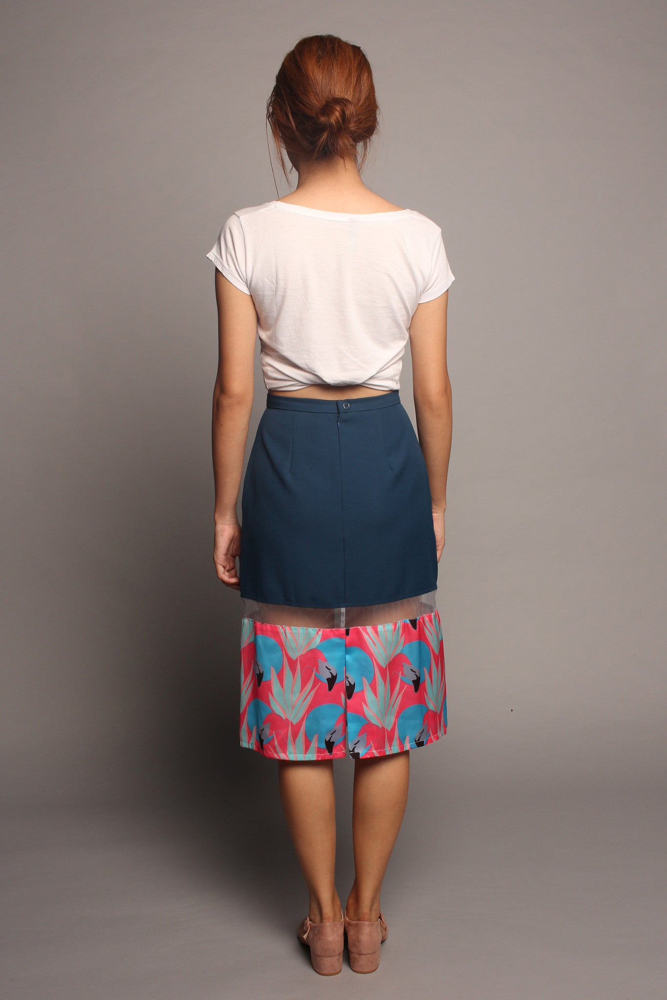 Flamingo Peekaboo Skirt - Dark Teal