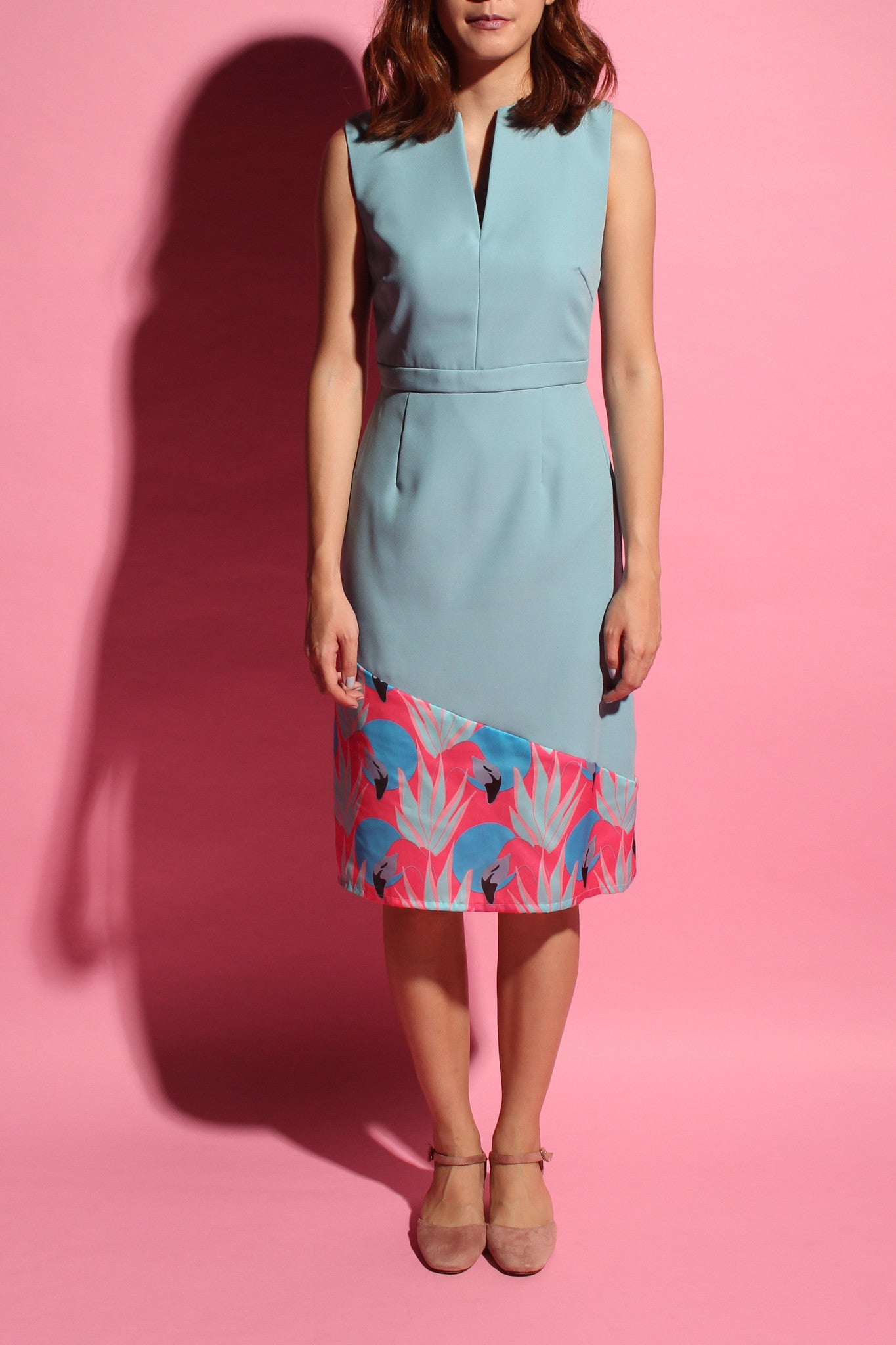 V-Neckline Flamingo Dress - Light Teal