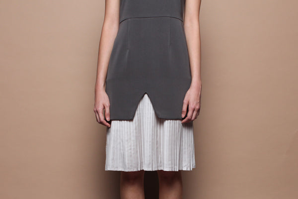 Inverted-V Pleated Dress