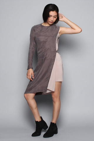 Asymmetrical Sleeve Shift Dress
