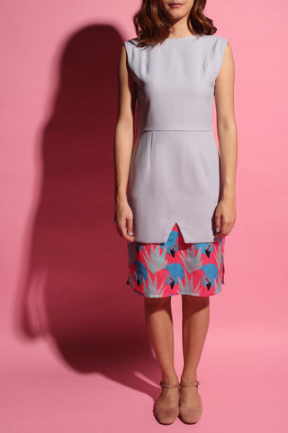 Inverted V Flamingo Dress - Grey