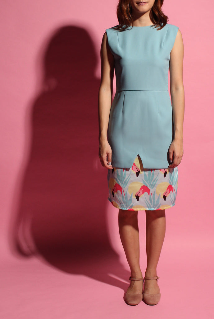 Inverted V Flamingo Dress - Light Teal