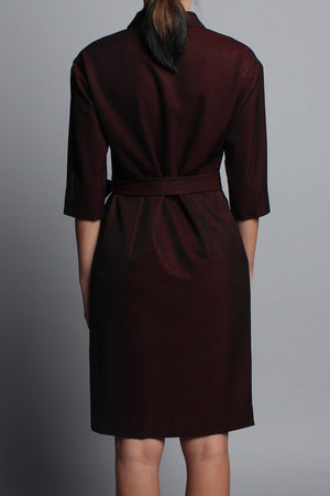 HALF-SLEEVED WRAP DRESS - BURGUNDY