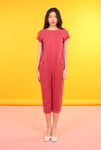 Drop Crotch Jumpsuit - Maroon Cupro