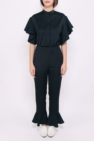Flared Hem Pants - Black