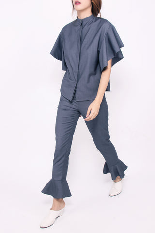 Flared Hem Pants - Dark Grey