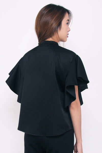 Flared Sleeve Blouse - Black