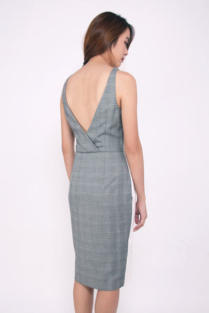 Front Strap V-Neck Dress - White on Checks