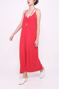 Geo Cut-out Maxi Dress - Cherry Red
