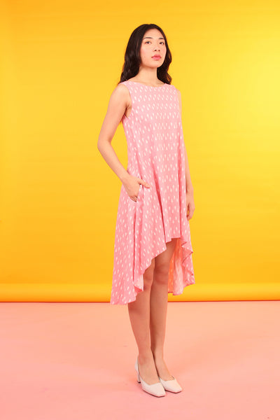 Hi-Lo Linen Flow Dress (Pink Diamonds)