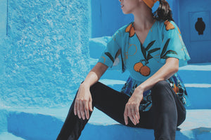 Split Sleeves Peplum Top (Chefchaouen print)