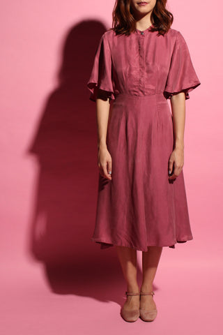 Back Flare Dress (Midi) - Raspberry Pink