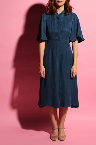 Back Flare Dress - Aqua Algae