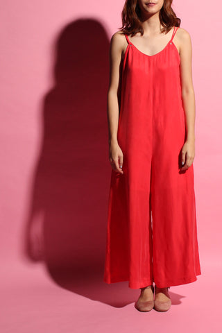 Wide-leg Jumpsuit - Intense Tangerine
